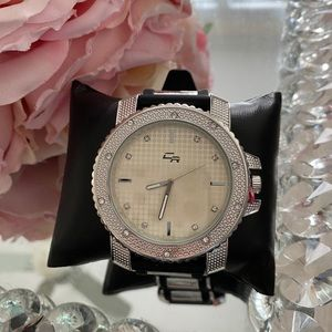 New silicon men's watch silver flashy icy bling